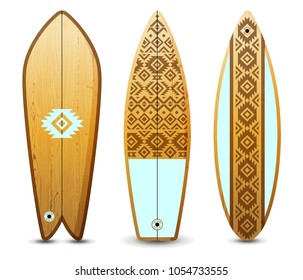 3 wooden surfboards decorated by tribal ornaments. Extreme sport equipment vector illustration