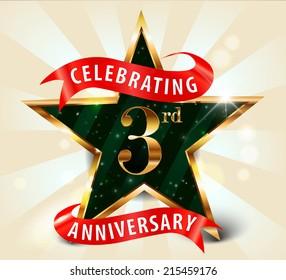 3 year anniversary celebration golden star ribbon, celebrating 3rd anniversary decorative golden invitation card - vector eps10