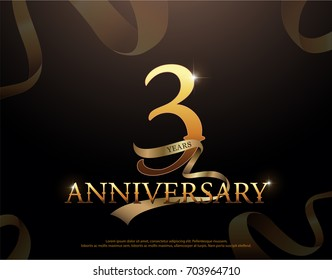 3 year anniversary celebration logotype template. 3rd logo with ribbons on black