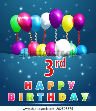 3 Year Happy Birthday Card Balloons Stock Vector Royalty Free
