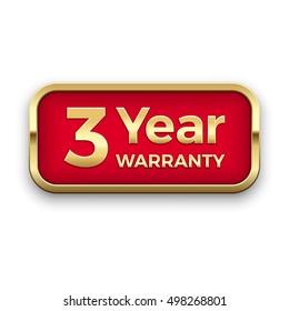 3 year warranty golden badge, vector