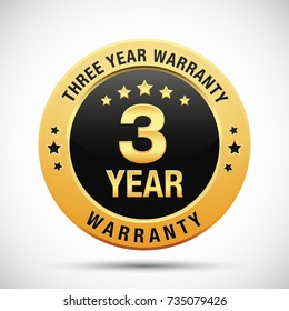 3 year warranty golden badge isolated on white background. warranty label