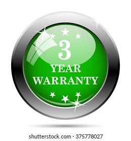 3 year warranty icon. Internet button on white background. EPS10 vector.