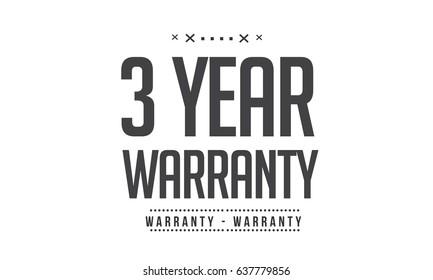 3 year warranty icon vector vintage grunge black guarantee background