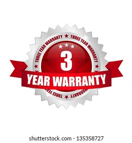 3 year warranty seal red