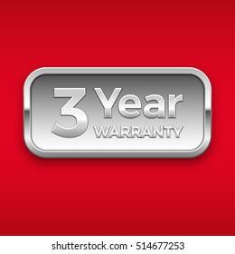 3 year warranty vector badge, silver