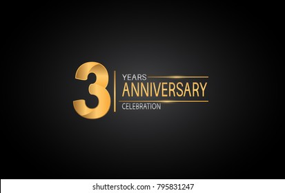 3 years anniversary celebration design with silver and gold color composition isolated on black background