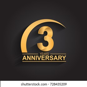 3 years anniversary celebration. Anniversary logo with swoosh and elegance golden color isolated on black background, vector design for celebration, invitation card, and greeting card