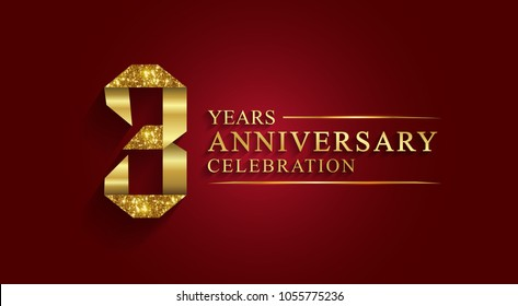 3 years anniversary celebration logotype. Logo,ribbon golden number on red background.Numbers ribbon gold foil.