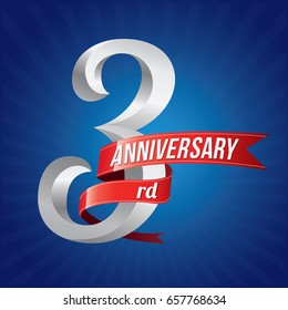 3 years anniversary celebration logotype. 3rd silver number with red ribbons on blue background
