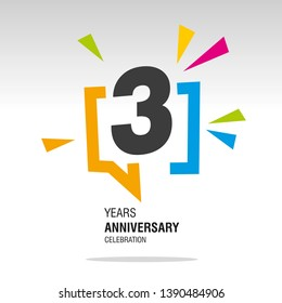 3 Years Anniversary colorful white modern logo icon banner