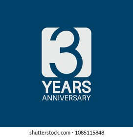 3 years anniversary design blue color with white square for company celebration