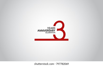 3 years anniversary design with simple line red color isolated on white background for celebration