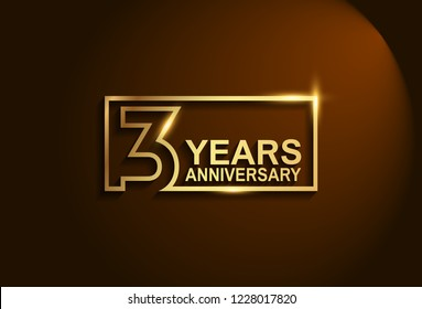 3 years anniversary golden design vector line style for company celebration