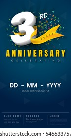 3 years anniversary invitation card - celebration template  design , 3rd anniversary modern design elements, dark blue  background - vector illustration