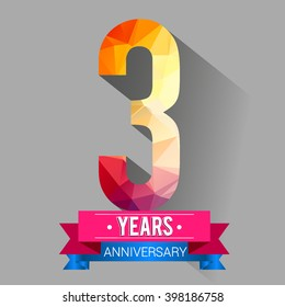 3 Years Anniversary logo. with colorful polygonal.
