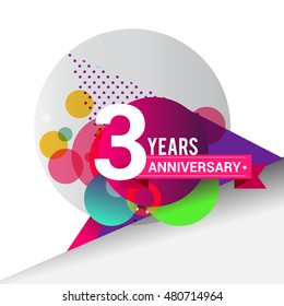 3 Years Anniversary logo with colorful geometric background, vector design template elements for your birthday celebration.