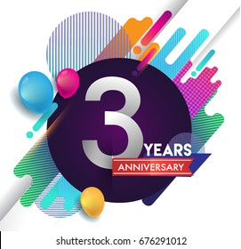 3 years Anniversary logo with colorful abstract background, vector design template elements for invitation card and poster your birthday celebration.