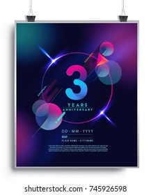 3 Years Anniversary Logo with Colorful Galactic background, Vector Design Template Elements for Invitation Card and Poster Your Birthday Celebration.