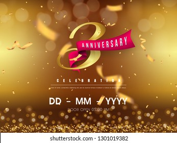 3 years anniversary logo template on gold background. 3rd celebrating golden numbers with red ribbon vector and confetti isolated design elements