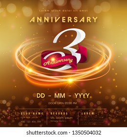 3 years anniversary logo template on golden Abstract futuristic space background. 3rd modern technology design celebrating numbers with Hi-tech network digital technology concept design elements.