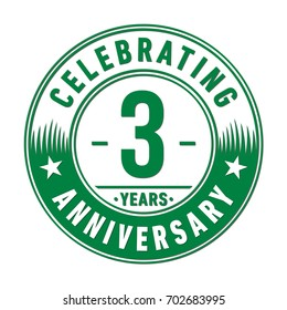 3 years anniversary logo. Vector and illustration.