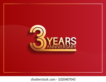 3 years anniversary logotype with golden multiple line style on red background for celebration