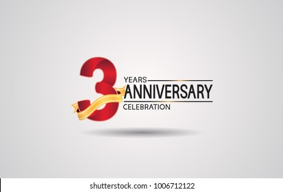 3 years anniversary logotype with red color and golden ribbon isolated on white background for celebration event