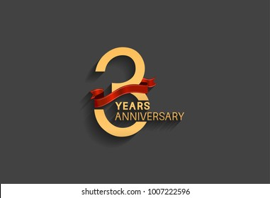 3 years anniversary logotype with red ribbon and golden color for celebration event
