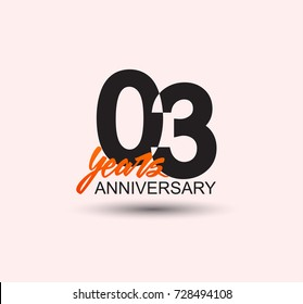 3 years anniversary simple design with negative style and yellow color isolated in white background