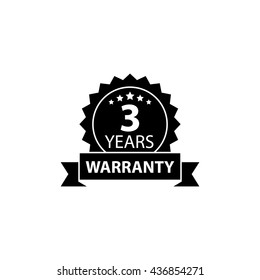 3 years and lifetime warranty label or seal flat icon