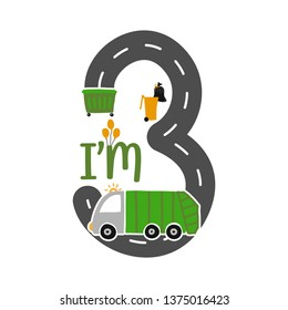 I'm 3 Years Old Birthday Boy Garbage Truck T-shirt. Cute Garbage truck doodle. Hand drawn vector doodle set for kids. Good for textiles, clothes, bday gifts.