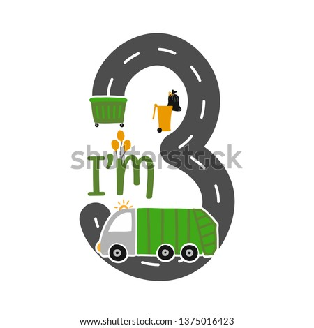 Im 3 Years Old Birthday Boy Garbage Truck T Shirt Cute