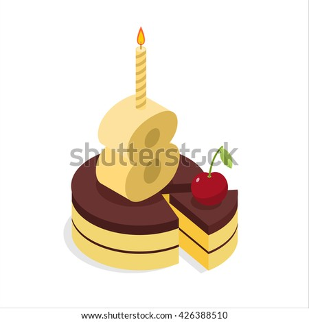 3 Years Old Birthday Cake Isometrics Figure Eight With Candle Celebration Of Anniversary Pie