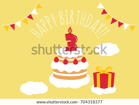 3 Years Old Birthday Card Vector