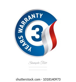 3 Years Warranty blue icon stamp vector