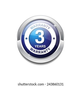 3 Years Warranty Blue Vector Icon Button