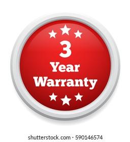 3 years warranty button