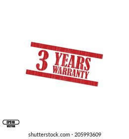3 years warranty grunge rubber stamp on white background,Eps.10 - vector illustration.