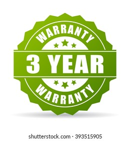 3 years warranty icon isolated on white background