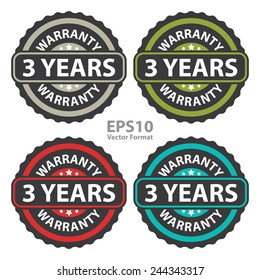3 years warranty on vintage, retro sticker, badge, icon, stamp isolated on white, vector format