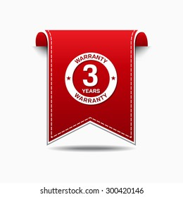 3 Years Warranty Red Vector Icon Design