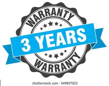 3 years warranty. stamp. sticker. seal. round grunge vintage ribbon 3 years warranty sign