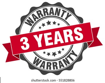 3 years warranty. stamp. sticker. seal. round grunge vintage ribbon 3 years warranty sign