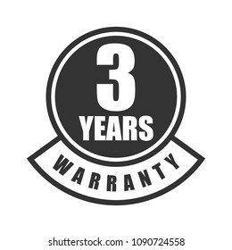 3 years warranty word on circle and curve bar badge vector, Minimalist style , simple design, black and white color.
