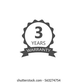 3 years warranty word on circle jagged edge and ribbon badge vector. Minimalist style, black and white color.