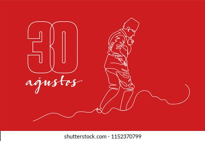 30 agustos Translation: 30th of August. Victory festival of Turkey, graphic for design elements, vector illustration, assets