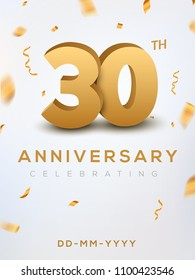 30 Anniversary gold numbers with golden confetti. Celebration 30th anniversary event party template.