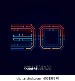 30 Anniversary, Letter thirty logotype orange and blue color,Technology and digital abstract dot connection company vector logo