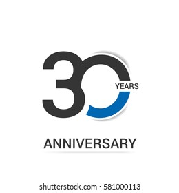 30 Anniversary  Logo Celebration, Black and Blue Flat Design Isolated on White Background